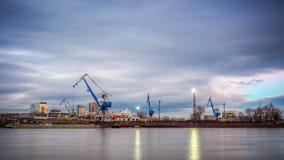 River harbor in Bratislava, on Danube river. River harbor in Bratislava, on left part of Danube river, Slovakia, Europe stock photography