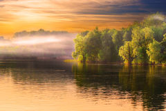 River haze landscape. Evening Dnieper river covered with haze Stock Images