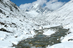 River in the high Himalaya. River in high Himalaya close to Everest region Royalty Free Stock Image