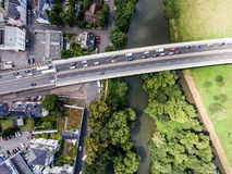 River and highway crossing dutch town, aerial view Royalty Free Stock Photo