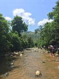 River Hikers in jungle Stock Photos
