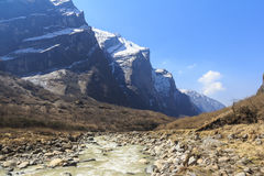 River and Himalaya mountain valley of Annapurna basecamp trekking, Nepal Stock Photos