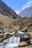 River and Himalaya mountain valley of Annapurna basecamp trekking, Nepal Royalty Free Stock Images