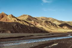 River in Himalaya mountains of Tibet.  royalty free stock images