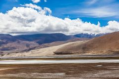 River in Himalaya mountains of Tibet.  stock images