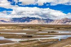 River in Himalaya mountains of Tibet.  stock photos