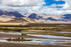 River in Himalaya mountains of Tibet.  stock photography