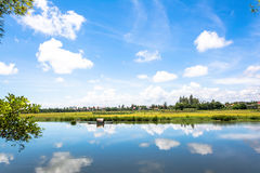 River in Hoi An. Blue river in Hoi An Royalty Free Stock Photo