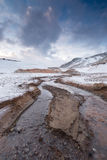 River from hot springs on a geological field on Iceland Royalty Free Stock Images
