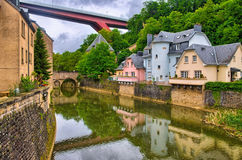 River with houses and bridges in Luxembourg, Benelux, HDR Royalty Free Stock Images
