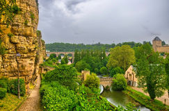 River with houses and bridges in Luxembourg, Benelux, HDR Stock Image