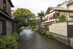 River and houses in kyoto japan Stock Image