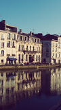 By the river houses. Old Buildings in Bayonne France Stock Images