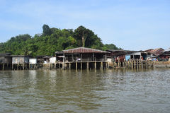 River houses in Ranong, Thailand. Show of river houses in Ranong, Thailand Royalty Free Stock Photos