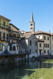 River and houses to Omegna, Piedmont Royalty Free Stock Photos