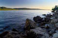 River and the huge stones. Evening landscape Stock Photo