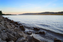 River and the huge stones. Evening landscape Stock Image