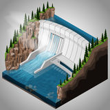 River hydroelectric power station. Vector isometric illustration of a river hydroelectric power station. Extraction of energy from renewable sources Stock Photos