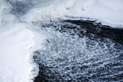 River and ice. Closeup of flowing river between ice floes Royalty Free Stock Photos