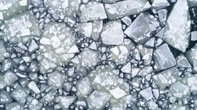 River Ice Flow, Aerial Top Down View stock photography