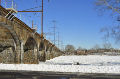 River Ice Jam. Ice Jam on the Delaware River, New Jersey Stock Photo