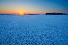 The river with ice and snow sunrise. The photo was taken in Wusong island Ulla manchu town Longtan district Jilin city Liaoning provence,China stock images