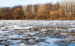River ice in the spring Stock Photo
