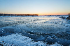 The river of ice sunset. The photo was taken in Wusong island Ulla manchu town Longtan district Jilin city Liaoning provence,China Royalty Free Stock Photos