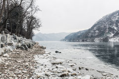 River with ice in winter Stock Image