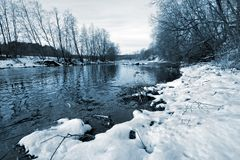 River without ice in winter with snow on the shore and growing trees. stock photos