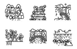 Waterfall icon set. Flat line illustration. royalty free illustration