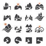 River icon set Royalty Free Stock Photo
