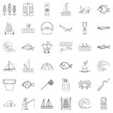 River icons set, outline style. River icons set. Outline style of 36 river vector icons for web isolated on white background Stock Image