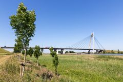 River IJssel with bridge near Kampen in The Netherlands Stock Images