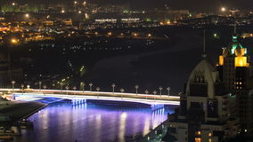River and illuminated bridge timelapse from rooftop at night in Astana. Kazakhstan capital stock video