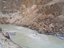 River Ind valley, in mountains of Ladakh Royalty Free Stock Images