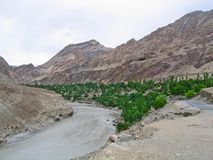 River Ind valley, in mountains of Ladakh Stock Photo
