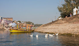 River of the indian town with fisher boats Stock Photos