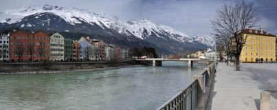 River Inn in Innsbruck. Stitched Panorama of the view on the river Inn and the streets along to it in Innsbruck Stock Photo