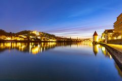 River inn view at Passau in Bavaria with reflection of promenade by night stock photos