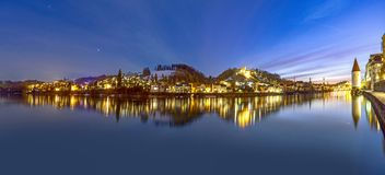 River inn view at Passau in Bavaria with reflection of promenade by night royalty free stock photo