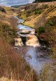 River Irthing Gorge At Crammel Linn Waterfall Stock Image