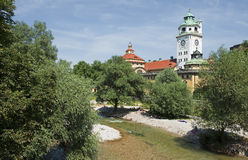 At the river Isar in Munich in Bavaria Stock Photos