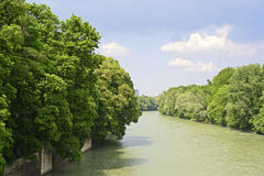 The river Isar in Munich in Bavaria Royalty Free Stock Photos