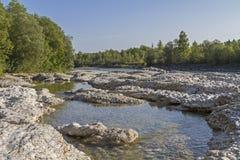 River Isar near Lenggries. Conglomerate rocks and river  Isar near Lenggries in Upper Bavaria Royalty Free Stock Photos