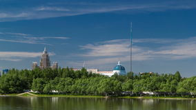 River Ishim timelapse, buildings, premises, tratuar and trees in park. Sunny day. Astana, Kazakhstan stock footage
