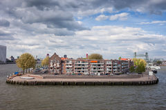 River Island with Houses in Rotterdam Stock Photos