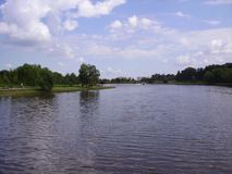 River and island in the Moscow park. stock photography