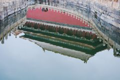 River. Jinshui River. Golden Water River. Meridian Gate. Water Reflection. The reflection of the Meridian Gate an entrance of the Forbidden City in the surface royalty free stock image