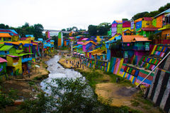 A river on Jodipan the Colorize village. A rive splits the area of the Jodipan village stock photos
